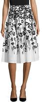 Karl Lagerfeld Paris Floral Box-Pleat Skirt