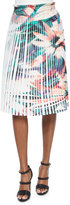 Nicole Miller Pleated Floral-Print Skirt