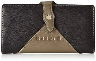Essere Women's Genuine Leather Wallet multi coloured and multiple card slots - Black & metallic smoke