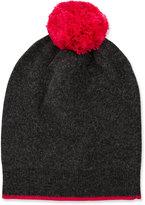 Neiman Marcus Knit Wool-Blend Pompom Hat, Charcoal