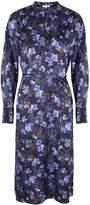 Vince Plumeria Blooms Navy Satin Midi Dress
