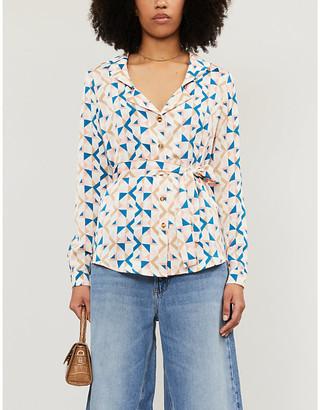 NEVER FULLY DRESSED Chester geometric-print crepe shirt