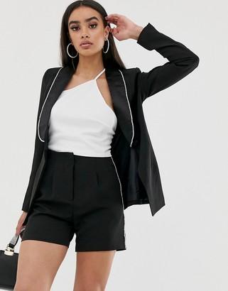 4th + Reckless tuxedo blazer jacket with diamante trim in black