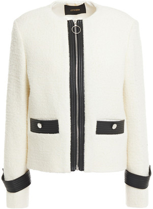 Maje Faux Leather-trimmed Boucle-twill Jacket