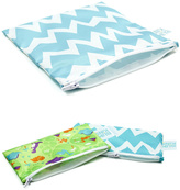 Bumkins Blue Chevron Reusable Snack Bag Set