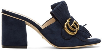 Gucci Navy Suede GG Marmont Slide Heeled Sandals