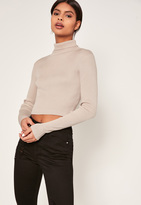 Missguided Basic Turtle Neck Long Sleeve Crop Sweater Nude