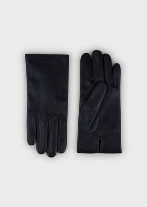 Emporio Armani Lambskin Nappa Leather Gloves With Baguette Detail
