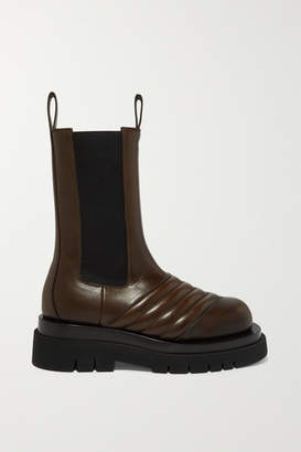 Bottega Veneta Paneled Leather Boots - Army green
