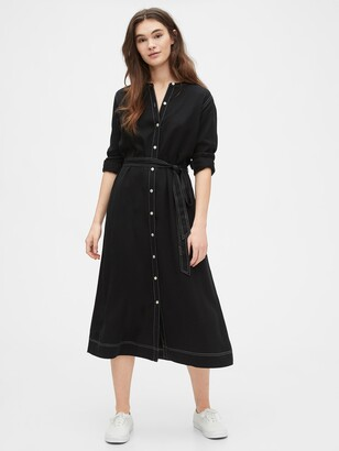 Gap Button Front Midi Shirtdress in TENCEL