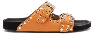 Isabel Marant Lennyo Studded Leather Slides - Tan