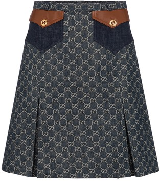 Gucci GG jacquard denim midi skirt
