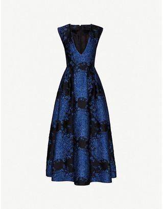 Valentino Sleeveless V-neck floral-brocade gown