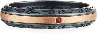 ara Marco Dal Maso Burnished Silver & 18K Rose Gold Band Ring with Red Sapphire, Size 10