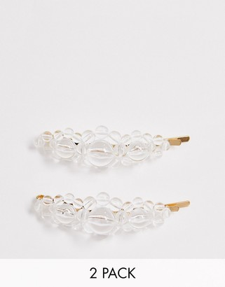 clear Asos Design ASOS DESIGN pack of 2 hair clips in resin beads
