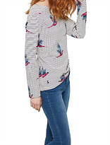 Joules Harbour Long Sleeve Printed Jersey Top, Cream Painted Pheasant Stripe