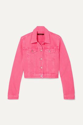 J Brand Cyra Oversized Cropped Denim Jacket - Bright pink