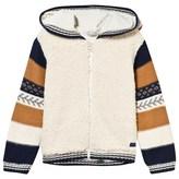 Catimini Multi Knit and Teddy Panel Hooded Cardigan