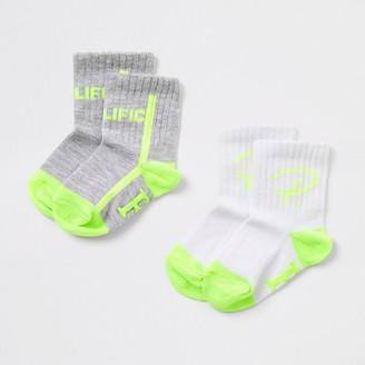 River Island Mini boys grey Prolific socks 2 pack