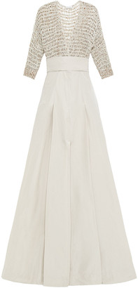 Brunello Cucinelli Embellished Open Knit-paneled Pleated Poplin Maxi Dress