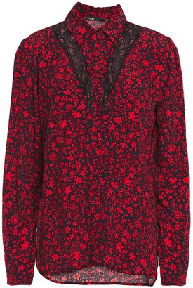 Maje Ciriane Lace-paneled Floral-print Crepe Shirt