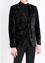 Etro Rose-print regular-fit velvet jacket