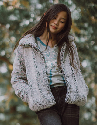 WHITE FAWN Frosted Sherpa Girls Jacket