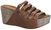 Antelope Leather Buckle Strap Slip-On Sandal