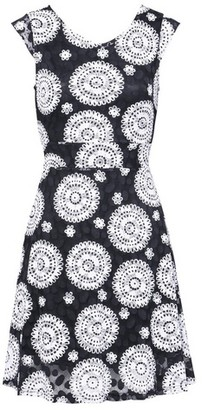 Dorothy Perkins Womens *Izabel London Black Mosaic Print Lace Skater Dress, Black