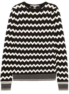 Stella McCartney Printed Pointelle-knit Wool Sweater