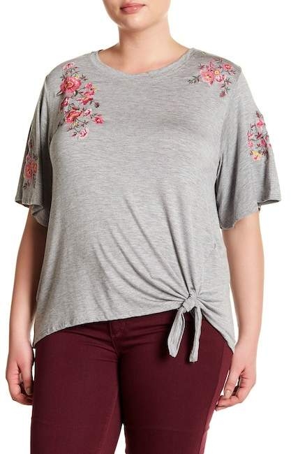Democracy Floral Embroidery Front Tie Shirt (Plus Size)