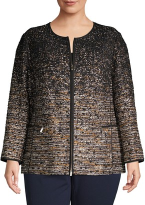 Lafayette 148 New York Plus Ombre Knitted Zip-Front Jacket