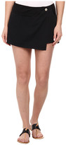 Michael Stars Cotton Twill Asymmetrical Wrap Skort