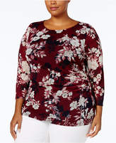 Charter Club Plus Size Floral-Print Mesh Top, Created for Macy's