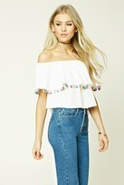 Forever 21 FOREVER 21+ Pom Pom Off-the-Shoulder Top