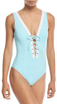 Letarte Lace-Up One-Piece Swimsuit