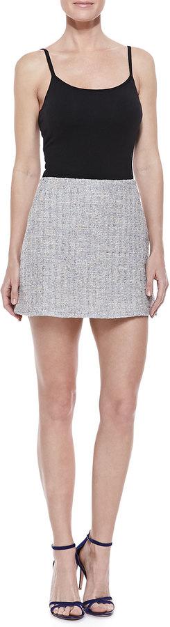 Theyskens' Theory Tweed Miniskirt, Gray/Multicolor