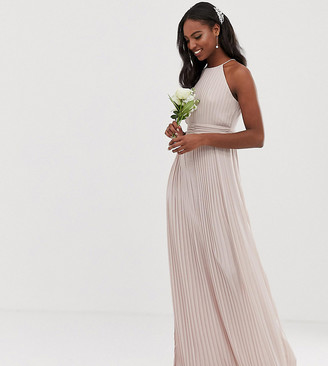 TFNC Tall bridesmaid exclusive high neck pleated maxi dress in taupe