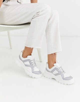 Monki reflective chunky sneakers in white