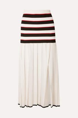 Sonia Rykiel Pleated Striped Cupro Skirt - White