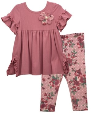 Bonnie Jean Toddler Girl Empire Knit Dress With Ruffled Short Sleeve And Flower, Coordinating Printed Legging