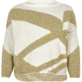 River Island Womens Plus gold tinsel knit Christmas jumper