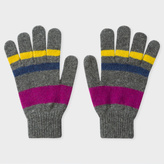 Paul Smith Men's Grey Striped Lambswool Gloves