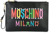 Moschino logo front clutch - women - Leather - One Size