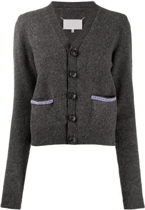 Maison Margiela Contrast-Trim Knitted Cardigan