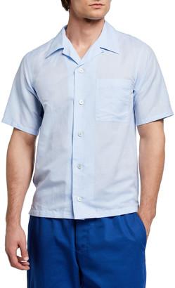 Kenzo Men's Linen-Cotton Camp Shirt w/ Pocket