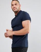 Asos Muscle Pique Polo Shirt In Navy