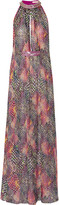 Matthew Williamson Embellished printed silk-chiffon maxi dress