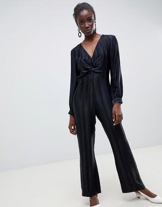 Asos self stripe wide leg jumpsuit-Black