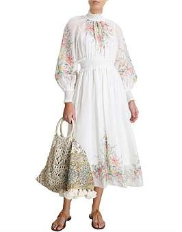 Zimmermann Zinnia Shirred Waist Long Dress